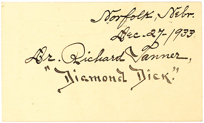 """Rare Wild West Autograph of Controversial Showman and Doctor Richard """"Diamond Dick"""" Tanner"""