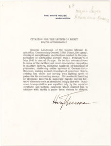 20824Remarkable Document Signed as President Awarding U.S. Legion of Merit to Soviet World War II General, Michail Anashkin