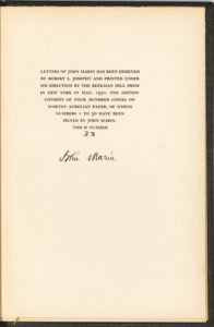 """21339Uncommon Signature of American Painter John Marin in One of Fifty Signed Copies of """"Letters of John Marin"""""""
