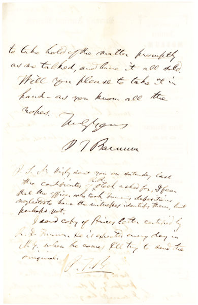 "An Amusing and Unpublished Autograph Letter Signed by the Author of ""The Last of the Mohicans,"" Mentioning Jenny Lind's Celebrated American Tour"