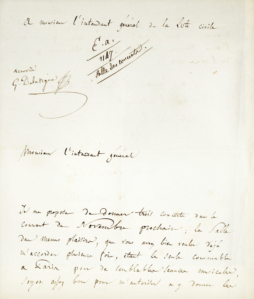 "Early Autograph Letter Signed Reserving a Venue for the Premiere of His ""Harold en Italie"""