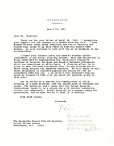 """21675Typed Letter Signed as President to Senator Daniel P. Moynihan: """"Social Security is a compact among the generations…"""""""