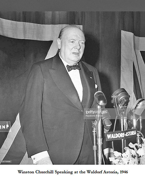 """Just Days after His Historic """"Iron Curtain"""" Speech, Churchill Signs His Famous Karsh Image During an Appearance at New York's Waldorf-Astoria Hotel"""