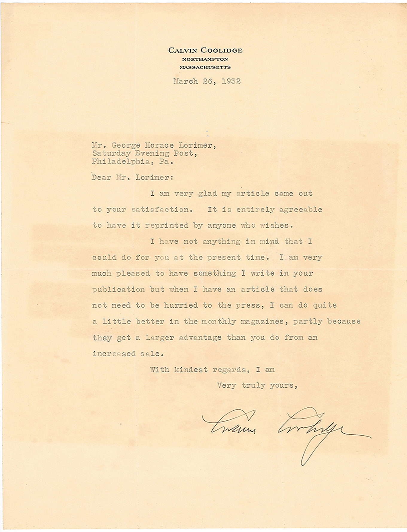 "Typed Letter Signed to the Editor of The ""Saturday Evening Post:"" ""I can do quite a little better in the monthly magazines"""