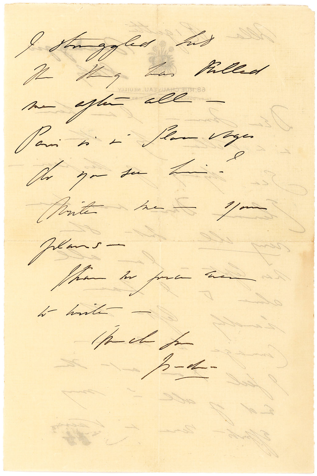 "Autograph Letter Signed Mourning the Tragic Death of Her Two Children: ""I feel I am at the end of all… I struggled but the thing has killed me after all… I am… dying of despair"""
