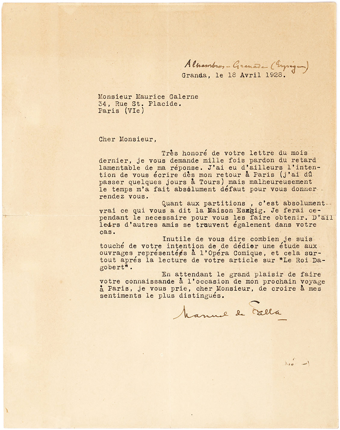 Fine Typed Letter Signed by Spain's Greatest Composer to French Composer and Critic Maurice Galerne