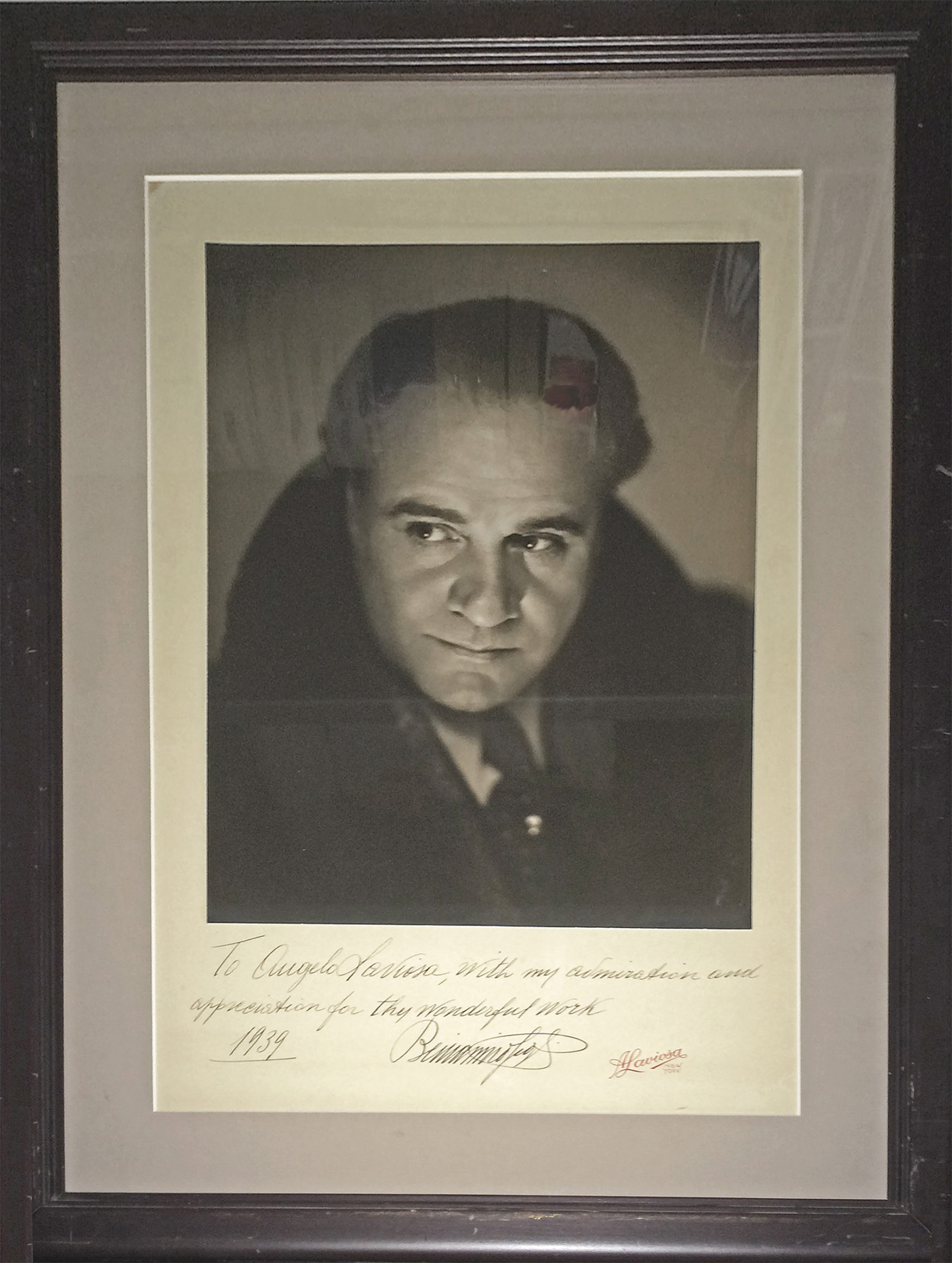 An Oversize and Magnificent Signed Photograph of the Italian Tenor Inscribed to the Photographer, Angelo Laviosa