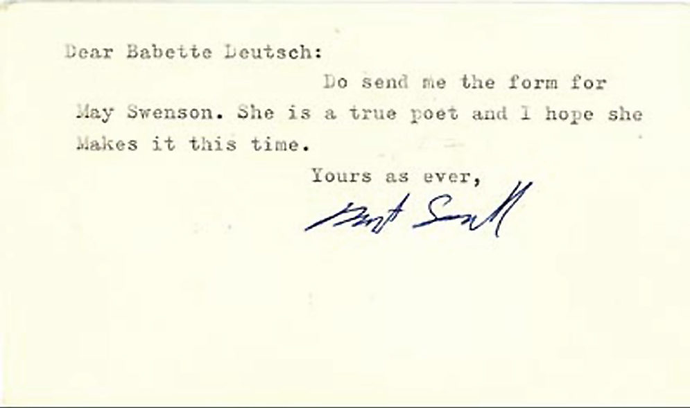 "Typed Postcard Signed to Babette Deutsch about May Swenson, ""She is a true poet"""
