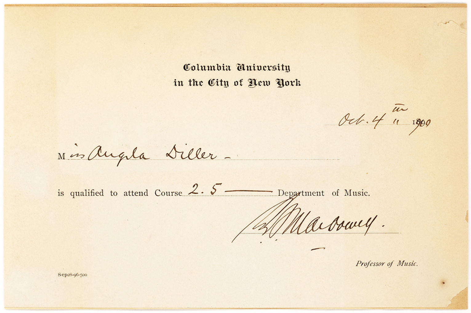 A Partially-printed Document Signed by Columbia's First Professor of Music Acknowledging that Angela Diller is Qualified to Attend  a Course at the University