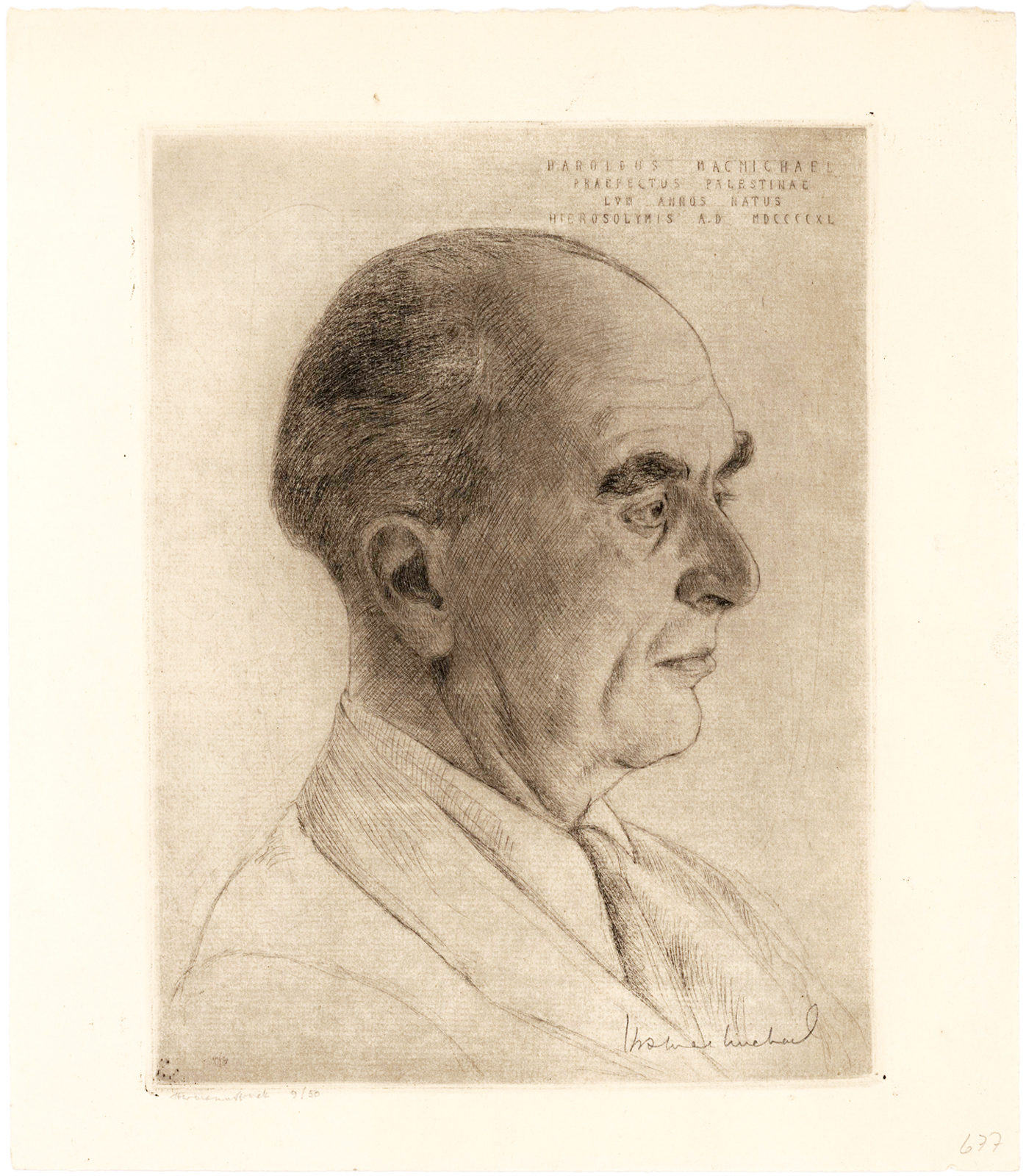 Hermann Struck Etching of Harold MacMichael, Palestine's High Commissioner, Signed by the Subject and the Artist