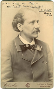 """18580A Handsome and Rare Half-Length, Gilt-Edged Boudoir Photograph of Massenet Inscribed to the """"Cercle des Arts"""" in 1887"""