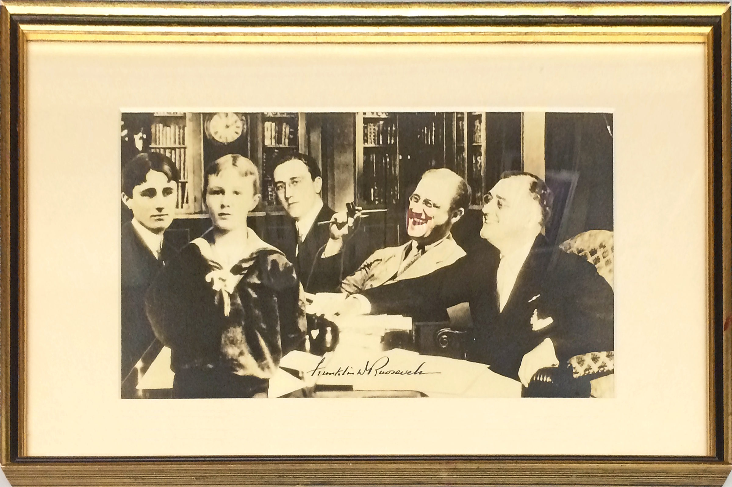 Large and Unique Signed Sepia Composite Photograph Combining Five Images Taken at Several Stages During FDR's Lifetime