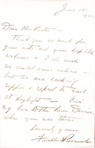 """20757Earliest Known Autograph Letter Signed as President: """"I do wish we could come ashore but we are cooking supper & expect to sail at daylight"""""""