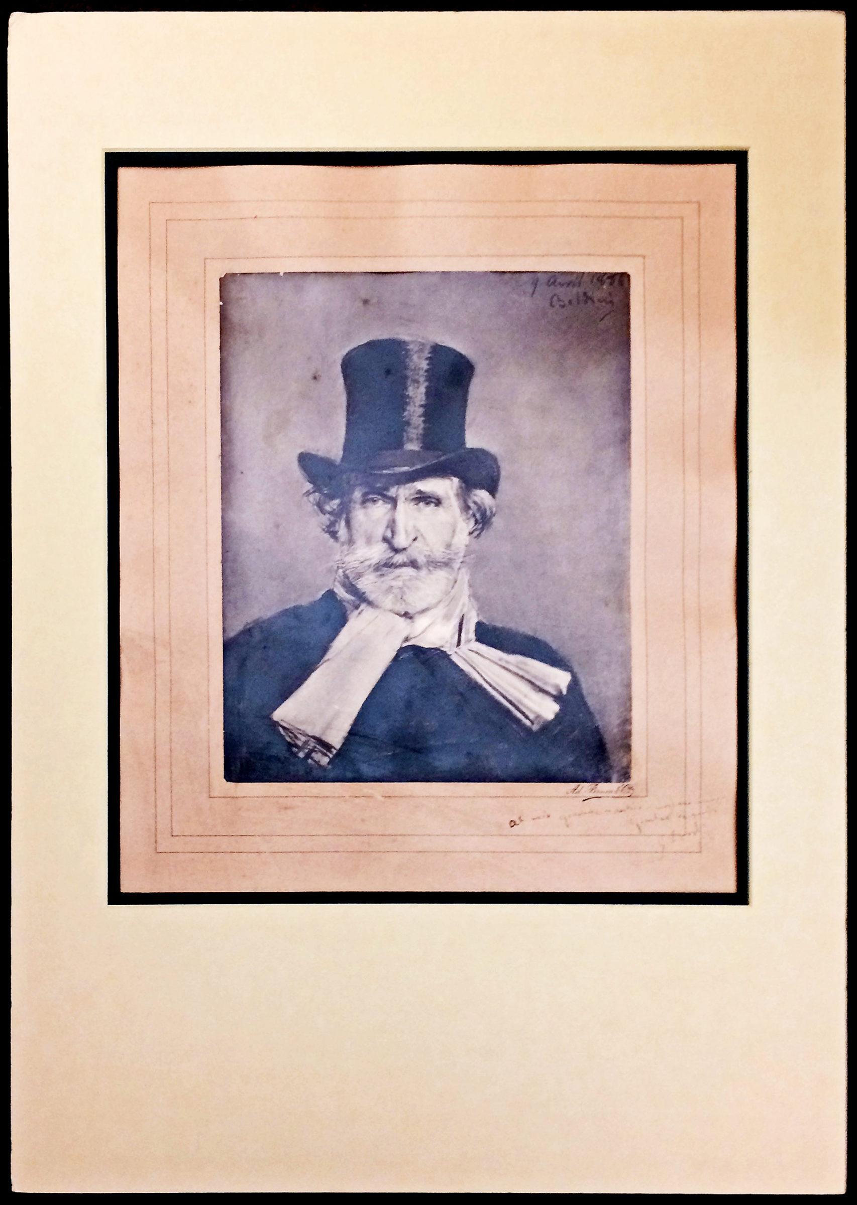 "Huge ""Boldini"" Portrait by Adolphe Braun Inscribed by Giuseppe Verdi to His Publisher Giulio Ricordi"