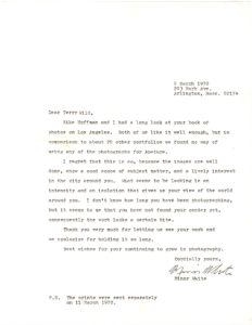 """20986Rare Letter to Terry Wild about his Photography and Regretting Inability to Publish it in """"Aperture"""" Magazine"""""""