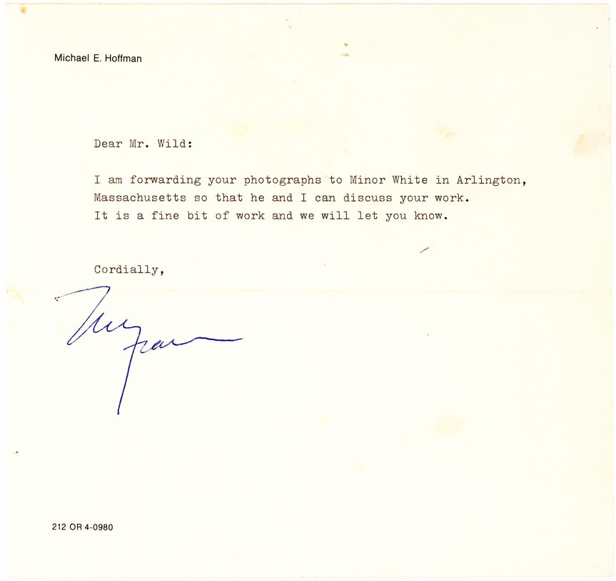 "Rare Letter to Terry Wild about his Photography and Regretting Inability to Publish it in ""Aperture"" Magazine"""