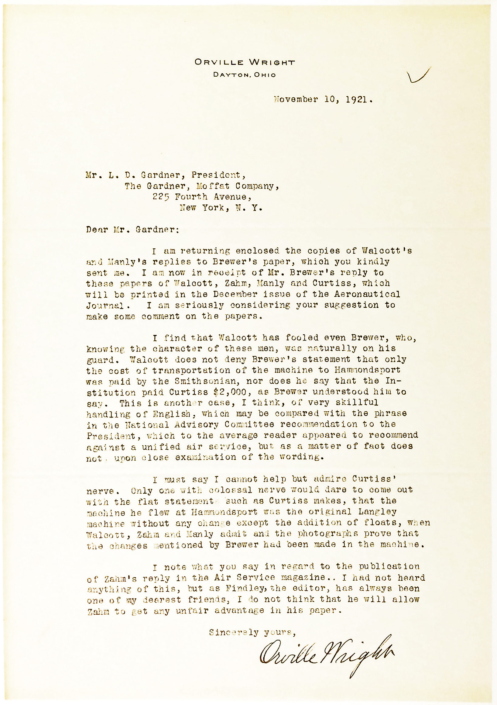 "Remarkable Typed Letter Signed about Glenn H. Curtiss' Behavior: ""Only one with colossal nerve would dare to come out with the flat statements… that the machine he flew…was the original Langley machine"""