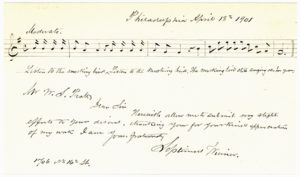 """15937Five-Measure Autograph Musical Quotation Signed from His Famous Song """"Listen to the Mocking Bird,"""" Inscribed to a Professor of Church Music and Hymnology in Hartford"""