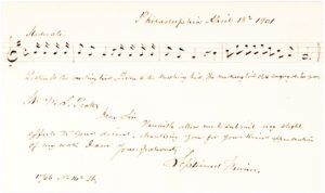 "15937Five-Measure Autograph Musical Quotation Signed from His Famous Song ""Listen to the Mocking Bird,"" Inscribed to a Professor of Church Music and Hymnology in Hartford"