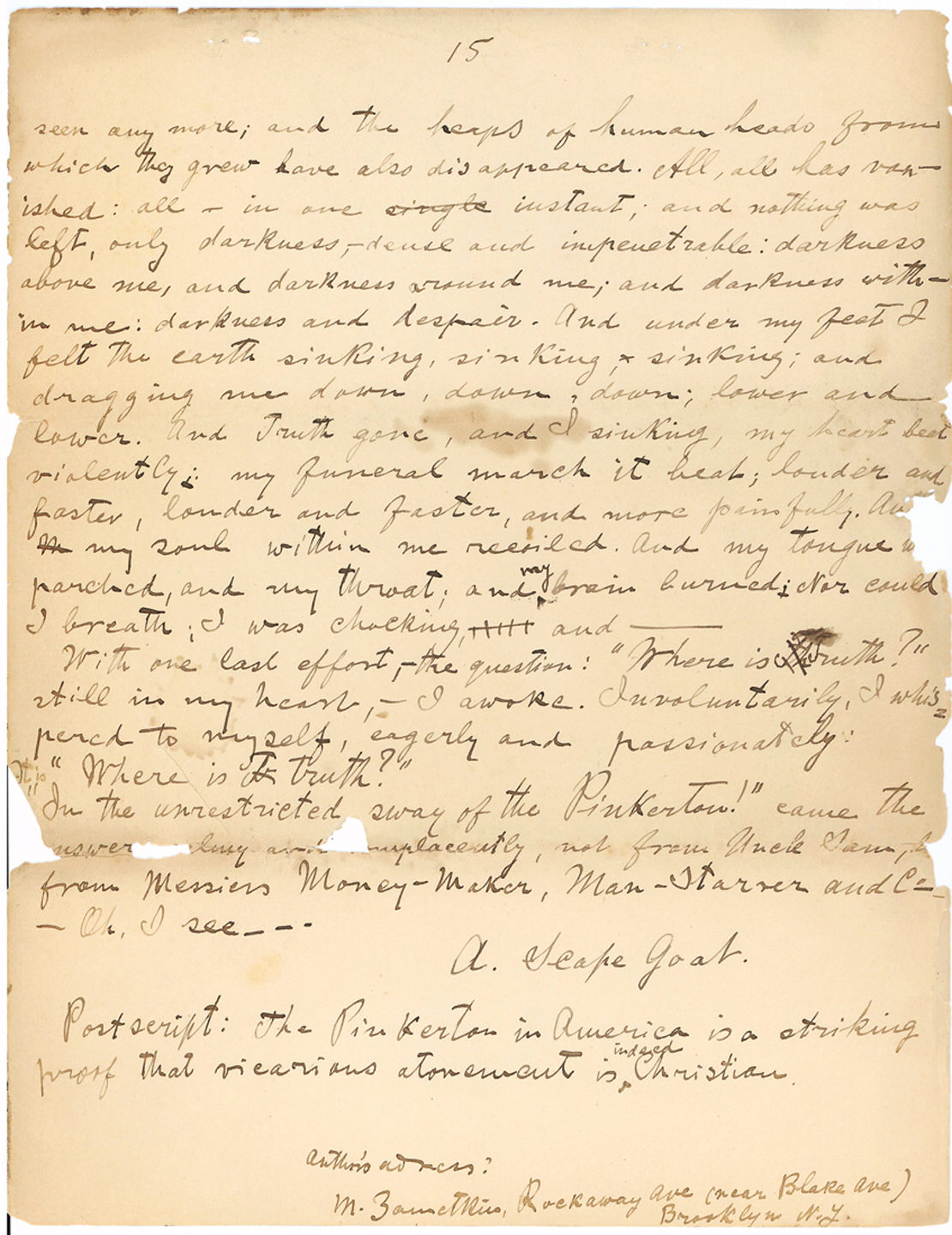 "Autograph Manuscript Signed by the Co-Founder of the ""Jewish Daily Forward:"" ""The Pinkerton in America is a striking proof that vicarious atonement is indeed Christian…"""