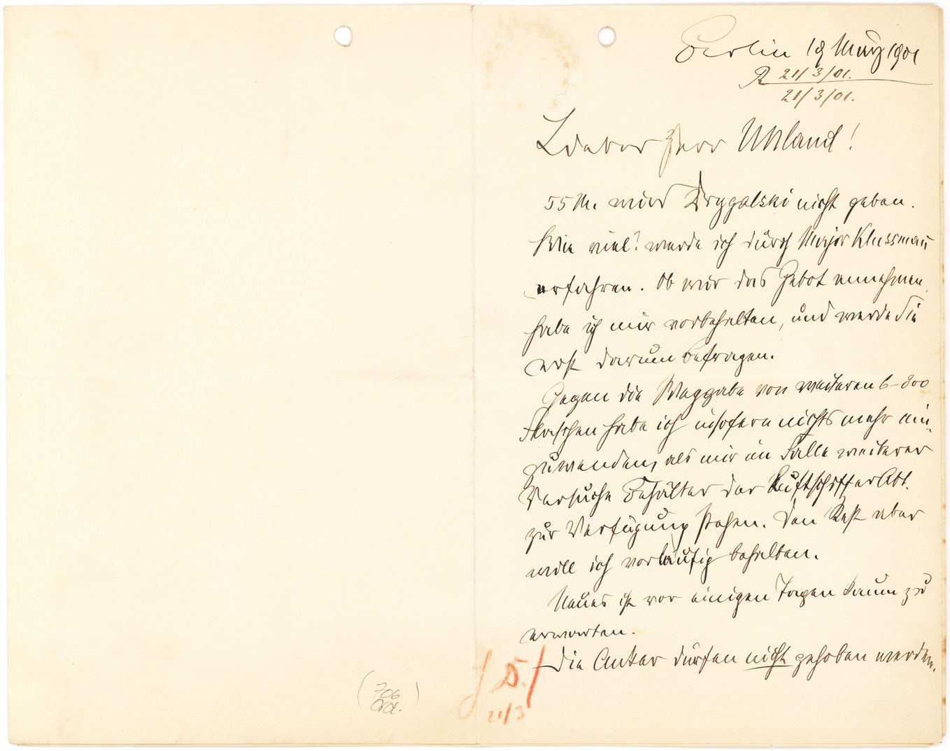"Important Two-page Autograph Letter Signed on Anchoring Airships on Water: ""The anchors must not be raised"""