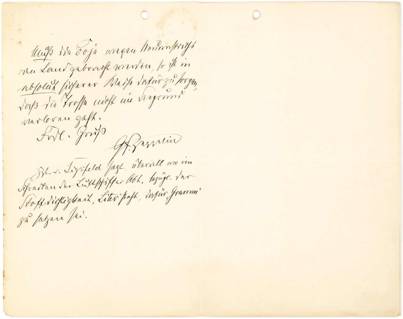 """Important Two-page Autograph Letter Signed on Anchoring Airships on Water: """"The anchors must not be raised"""""""