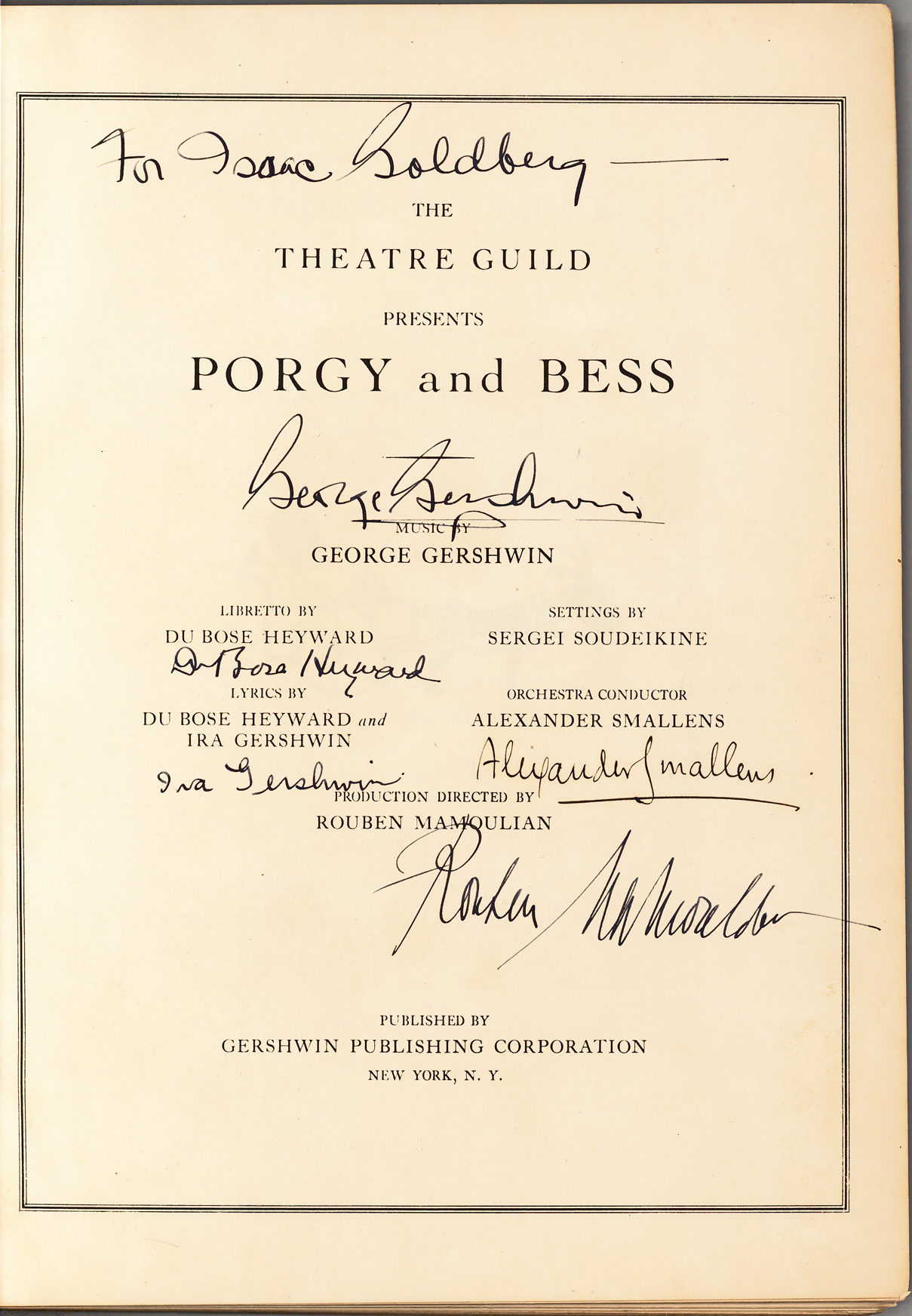 "First Edition of the Piano Vocal Score of America's Greatest Opera, ""Porgy and Bess,"" Signed by George and Ira Gershwin, Heyward, Mamoulian and Smallens"