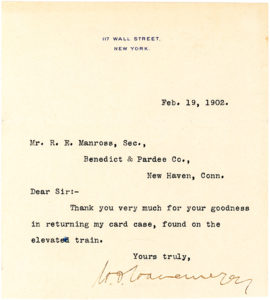 29566Gracious and Grateful Typed Letter Signed by Art Collector, Plutocrat and Patron of New York's Metropolitan Museum