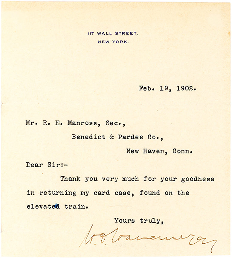 Gracious and Grateful Typed Letter Signed by Art Collector, Plutocrat and Patron of New York's Metropolitan Museum