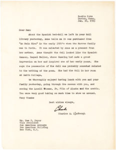 29613Typed Letter Signed by the Hero of the First Solo Non-stop Transatlantic Flight to His Friend, Aviation Pioneer Samuel F. Pryor