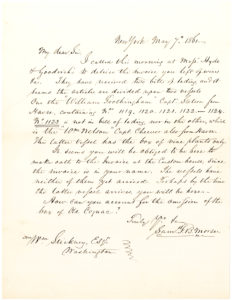 29673Autograph Letter Signed by the Inventor of the Telegraph Inquiring about Wine and Cognac