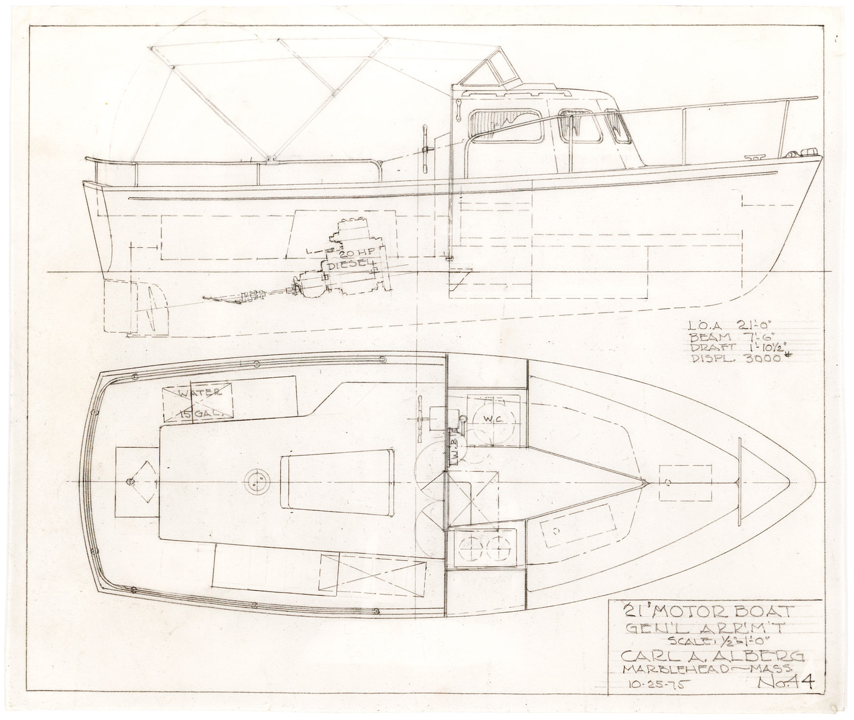 Original, Hand-Drawn Motor Boat Design by the Swedish-born, American Boat Designer of the Immensely Popular Triton and Cape Dory 22