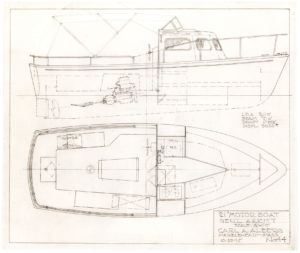 30148Original, Hand-Drawn Motor Boat Design by the Swedish-born, American Boat Designer of the Immensely Popular Triton and Cape Dory 22