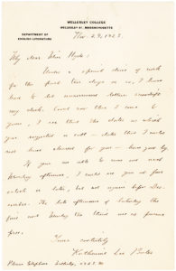 "30151Uncommon Autograph Letter Signed on Wellesley College Stationery by the Author of ""America the Beautiful"""