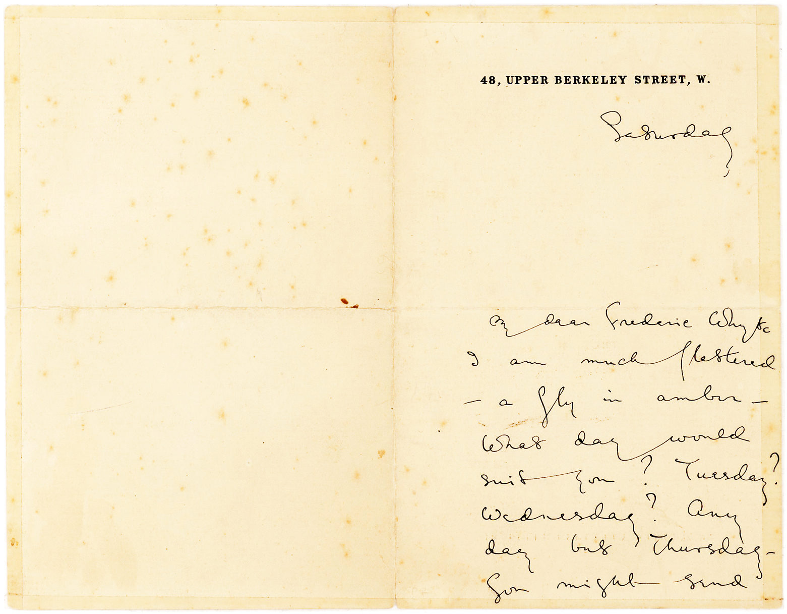 Charming Autograph Letter Signed to British Editor, Translator and Journalist, Frederic Whyte