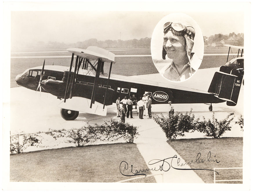 Signed Photograph by Lindbergh's rival for the Orteig Prize of his Biplane, the NC726K Curtiss T-32 Condor, Originally Owned by Eastern Air Transport