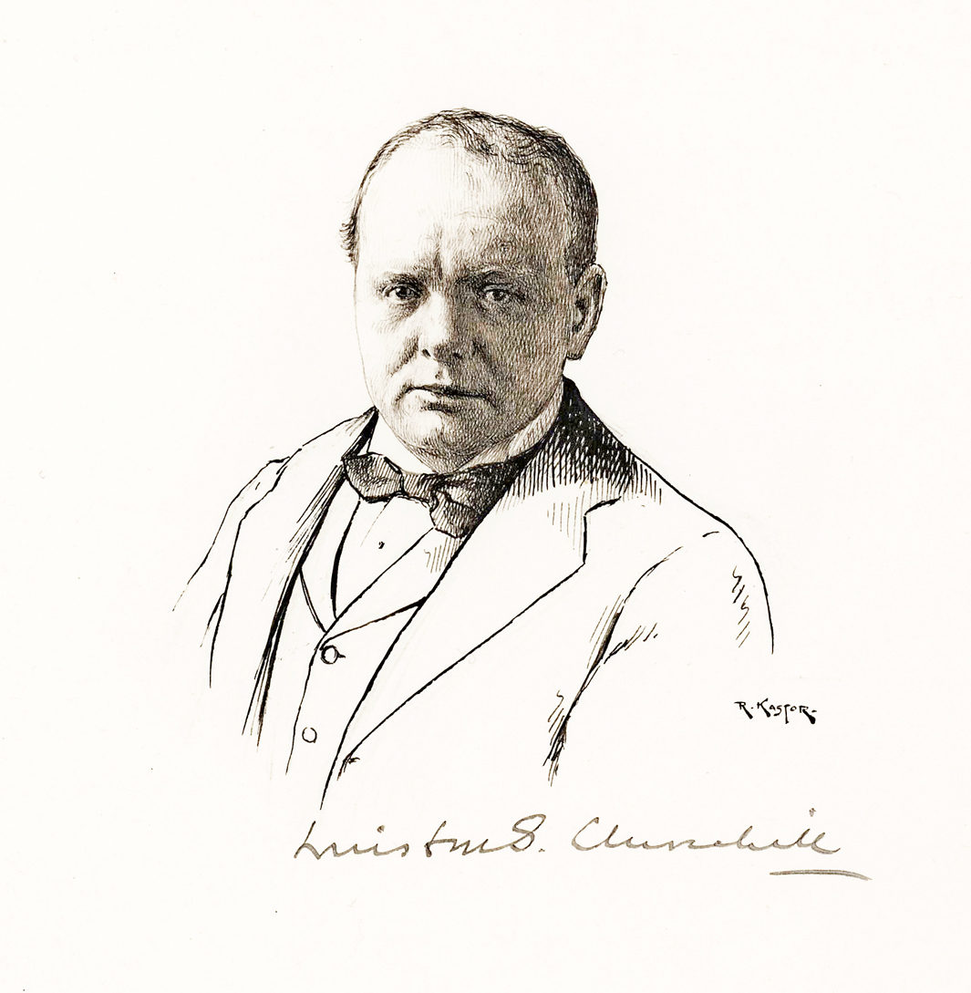 Pen-and-Ink Drawing Signed by the Artist and Churchill at the Time of His Famous Dinner with Keynes, McKenna, Bradbury and Niemeyer that Led to Britain's Disastrous Return to the Gold Standard
