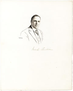 Original Robert Kastor Pen and Ink Drawing Signed by the Artist and the 'Wrong' Winston Churchill