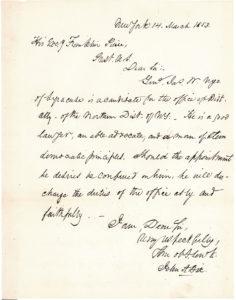 30352Future Secretary of the Treasury Autograph Letter Signed to President Franklin Pierce about New York Democratic Politics