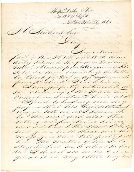 "Scarce Autograph Letter Signed by 19th-Century New York City Real Estate Developer about Charity for ""Old Merchants"""