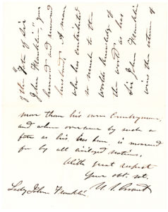 "30495Autograph Letter Signed as President to Lady Jane Franklin about Her Missing Husband, Explorer Sir John Franklin, ""A man who has contributed so much to the world's knowledge"""