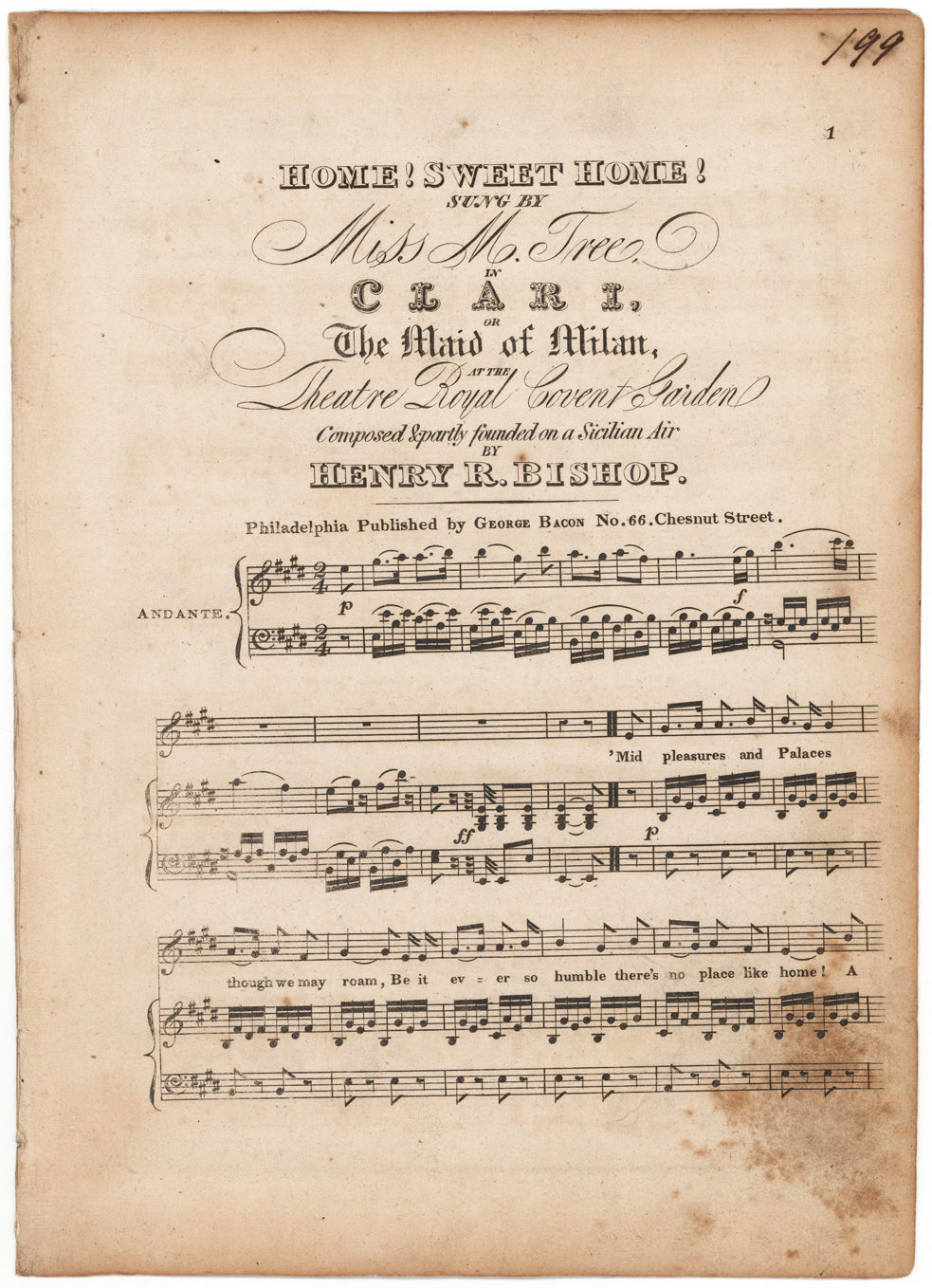 """Extremely Rare Fair Copy of the First Two Verses of """"Home! Sweet Home!"""" One of President Lincoln's Favorite Melodies"""