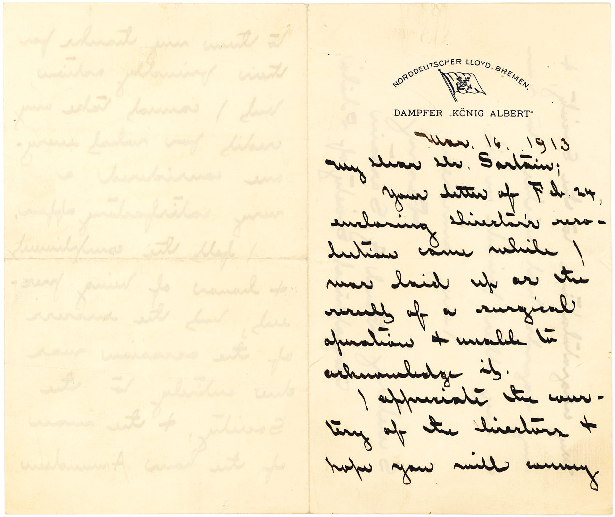 "Autograph Letter Signed Lauding the Discoverer of the South Pole, ""The man of the hour Amundsen,"" When They Met at the Geographical Society of Philadelphia"