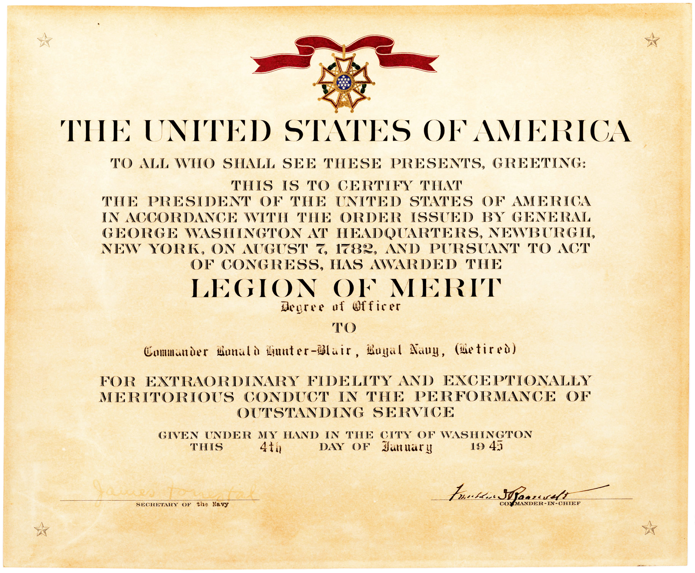 Legion of Merit Certificate Awarded by the President to British D-Day Officer, Countersigned by US Secretary of the Navy James Forrestal