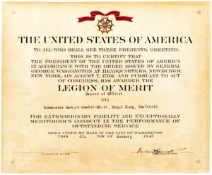 30345Legion of Merit Certificate Awarded by the President to British D-Day Officer, Countersigned by US Secretary of the Navy James Forrestal