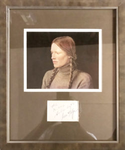 30195Framed Card Signed by the American Realist Painter and his Secret German Model Helga Testorf