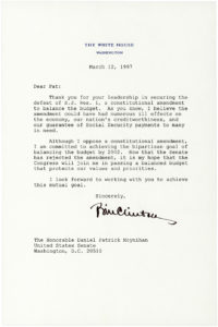 30944Typed Letter Signed as President Thanking NY Senator Daniel P. Moynihan for His Support Against a Balanced Budget Amendment