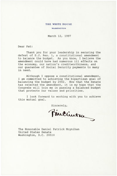 """Typed Letter Signed as President to Senator Daniel P. Moynihan: """"Social Security is a compact among the generations…"""""""
