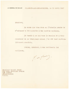 """31172Typed Letter Signed to an American Supporter Four Days Before the Formation of His RPF Party: """"The money you were so kind and thoughtful to send me has been applied toward my social endeavors…"""""""