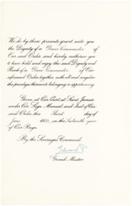 Rare Document Signed By King George V and His Son, the Future King Edward VIII, Honoring the Canadian Opera Star Emma Albani